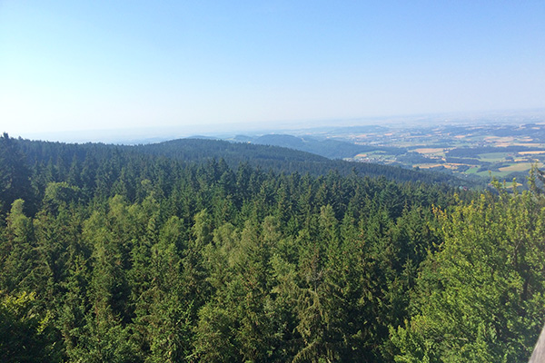 Taking in some fresh air while enjoying the gorgeous view of the Bavarian Forest.