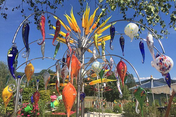Outside of the famous Joska Crystal Factory—glass in an infinite array of forms and colors!
