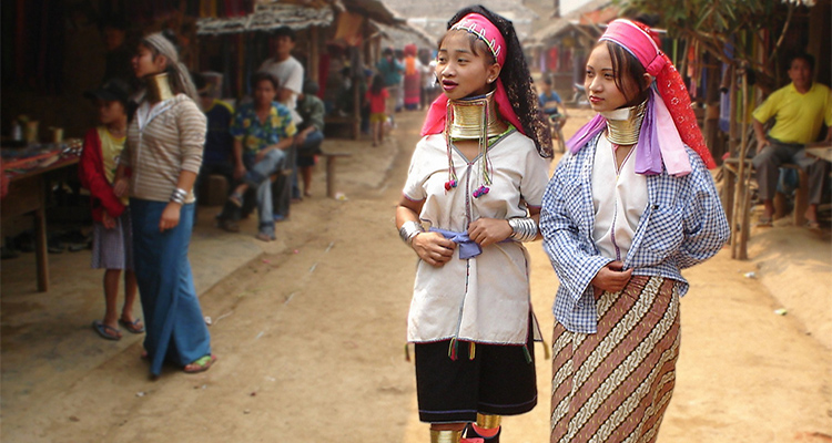 Long-Neck Karen Hill Tribe women in village